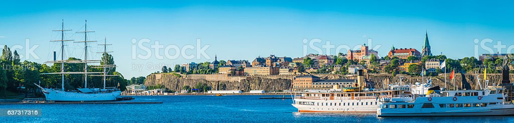 Stockholm harbour Gamla Stan Sodermalm waterfront cityscape panorama Sweden stock photo