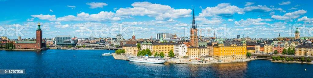Stockholm harbour landmarks panorama City Hall Gamla Stan cityscape Sweden stock photo
