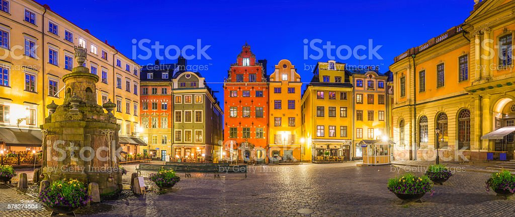 Stockholm iconic medieval square colourful houses Stortorget night panorama Sweden stock photo