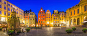 Stockholm iconic medieval square colourful houses Stortorget night panorama Sweden