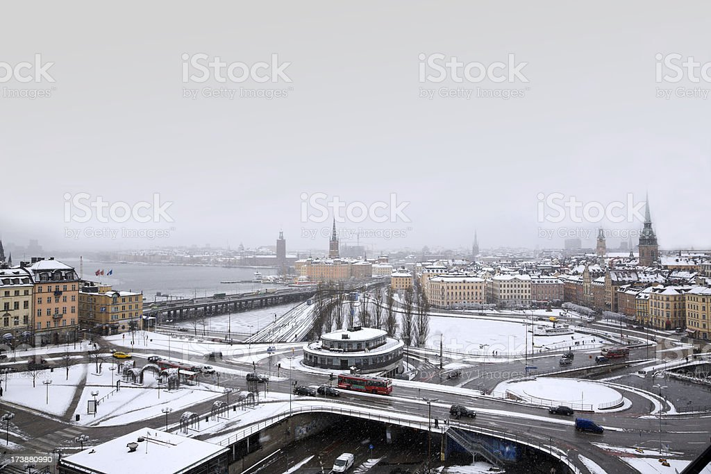 Stockholm in snowfall royalty-free stock photo