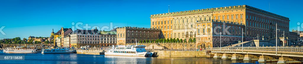 Stockholm Kungahuset Royal Palace Gamla Stan overlooking harbour panorama Sweden stock photo