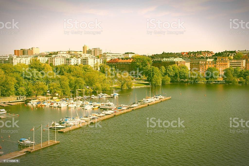 Stockholm marina stock photo