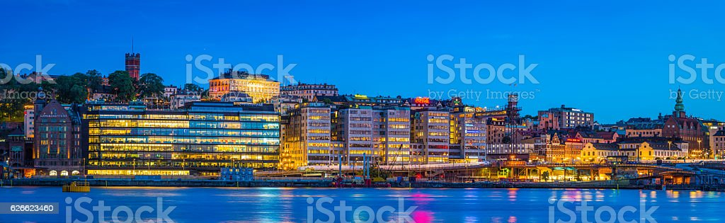 Stockholm modern waterfront panorama Sodermalm harbour lights at dusk Sweden stock photo
