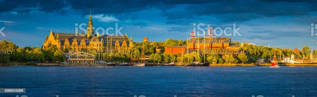 Stockholm Nordic Museum Junibacken Vasa Museum sunset Djurgarden panorama Sweden stock photo