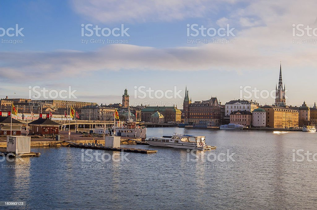 Stockholm Old Town and Harbour at Dawn royalty-free stock photo