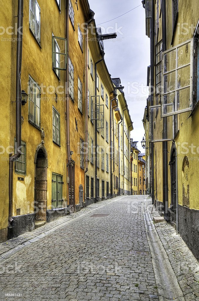 Stockholm Old Town cobblestone street. royalty-free stock photo