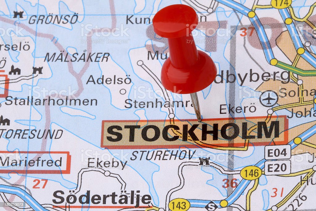Stockholm on a map. royalty-free stock photo