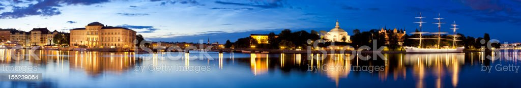 Stockholm panorama at dawn, Sweden royalty-free stock photo