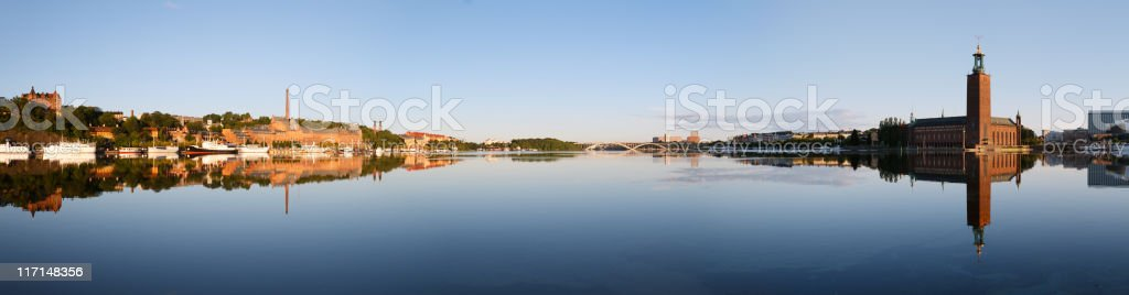 Stockholm panorama with reflection on water stock photo