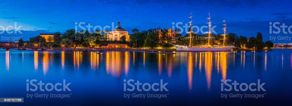 Stockholm panoramic view across tranquil blue harbour to Skeppsholmen Sweden stock photo
