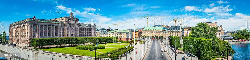 Stockholm Parliament House Riksdagshuset overlooking Riksplan and waterfront panorama Sweden stock photo