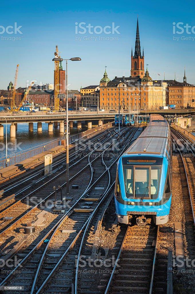 Stockholm public transport Metro commuter trains in city centre Sweden stock photo
