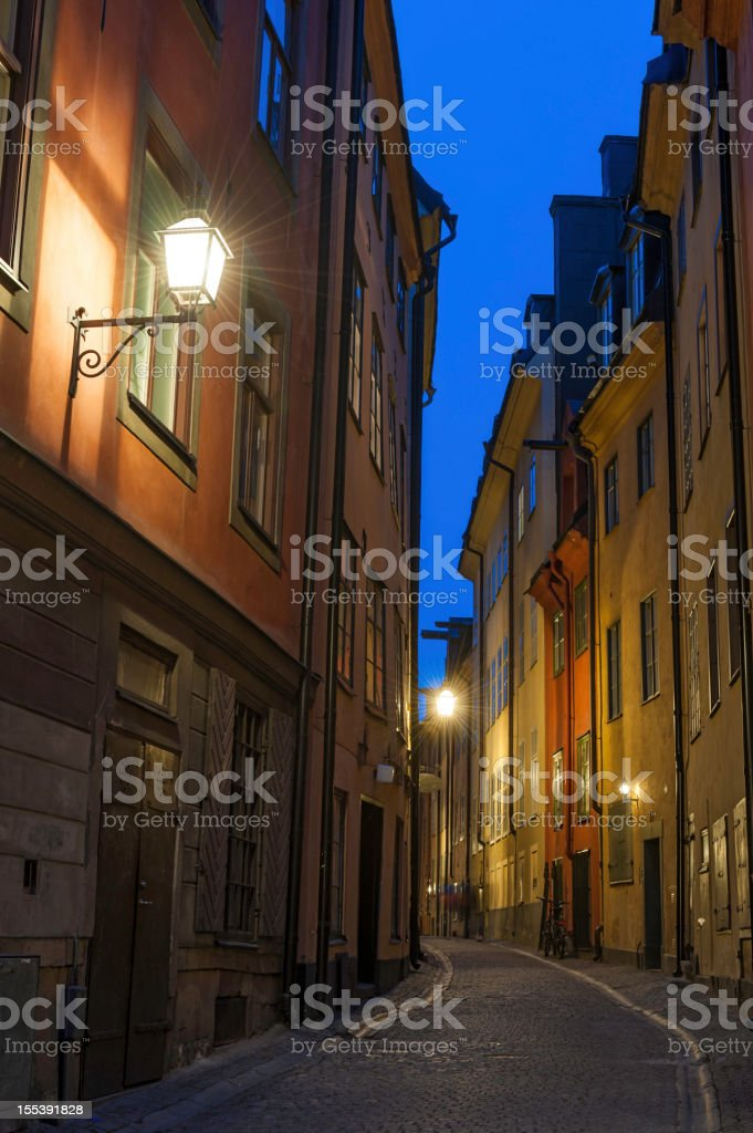 Stockholm quiet night alleyways on Gamla Stan royalty-free stock photo