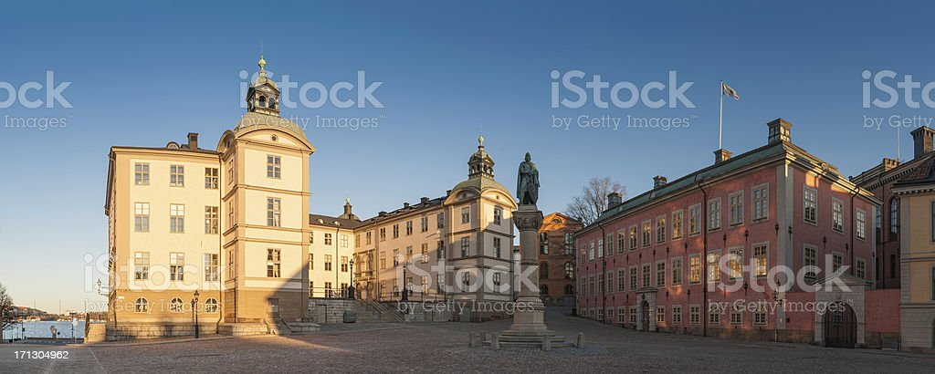 Stockholm Riddarholmen palace square panorama Sweden stock photo
