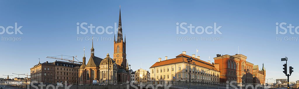 Stockholm Riddarholmen sunrise cityscape panorama stock photo