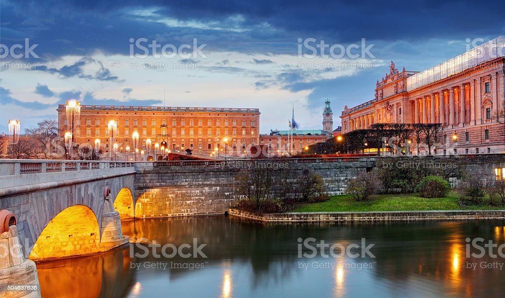 Stockholm - Riksdag, palace and Norrbro Bridge, Sweden stock photo