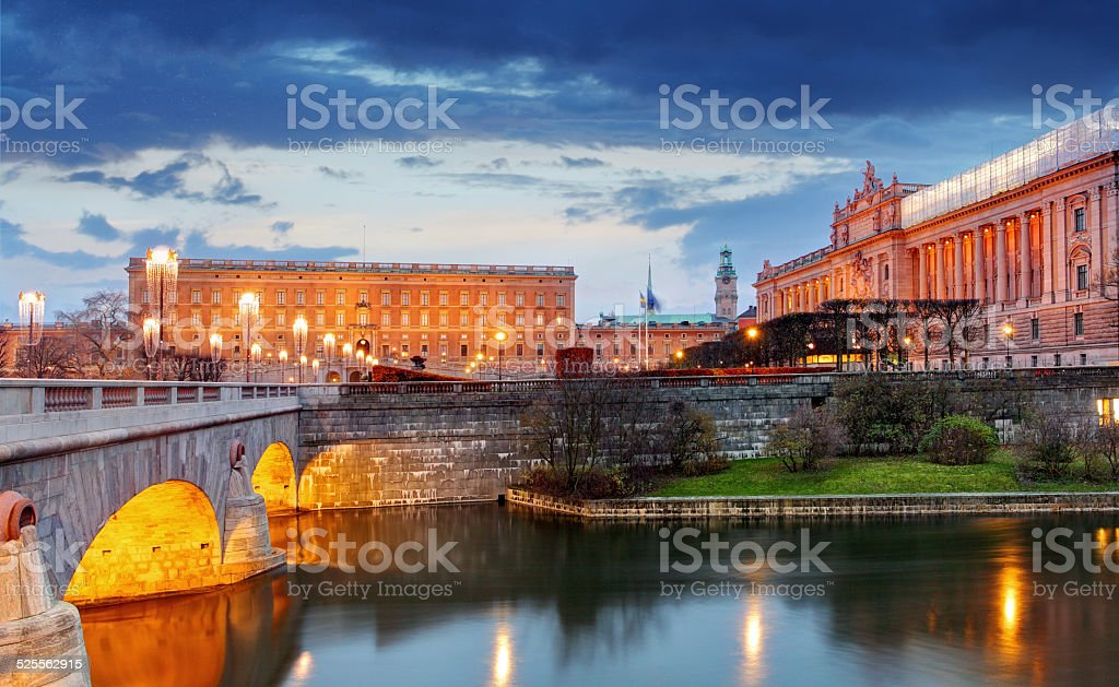 Stockholm - Riksdag, royal palace and Norrbro Bridge, Sweden stock photo