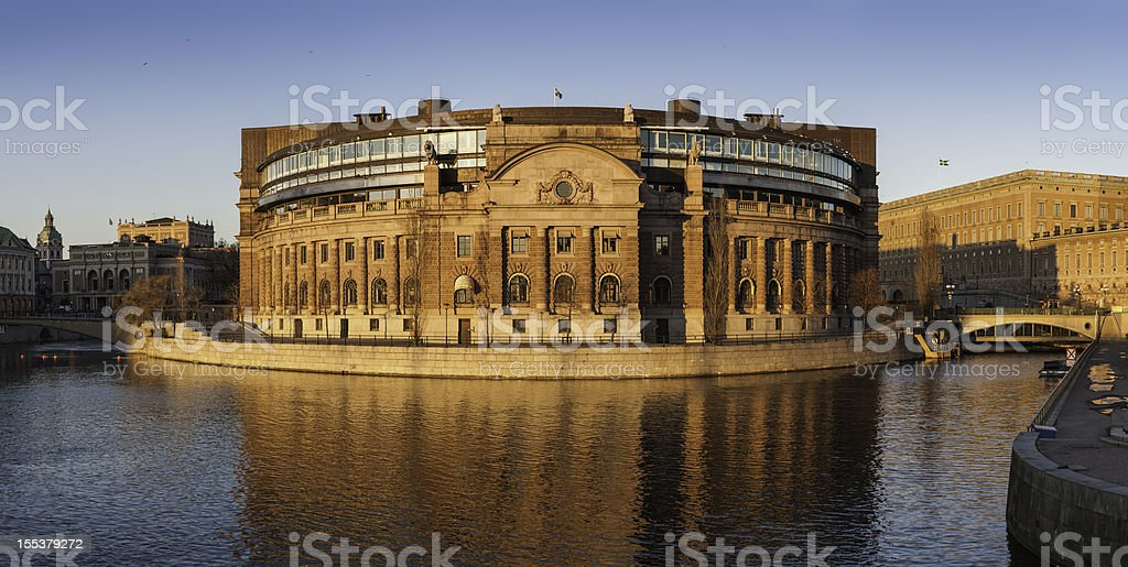 Stockholm Riksdaghuset Swedish Parliament at sunset stock photo