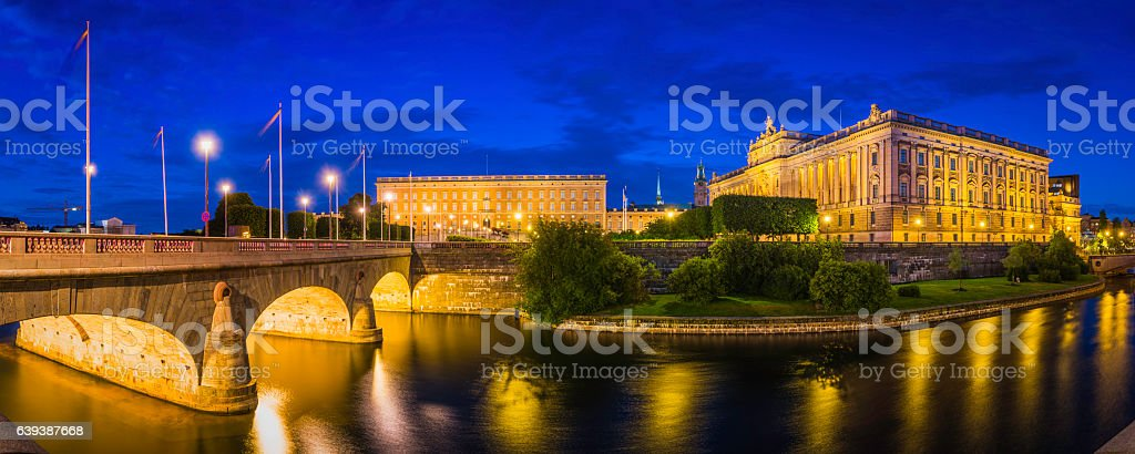 Stockholm Riksdaghuset Swedish Parliament Riksdag Gamla Stan illuminated panorama Sweden stock photo