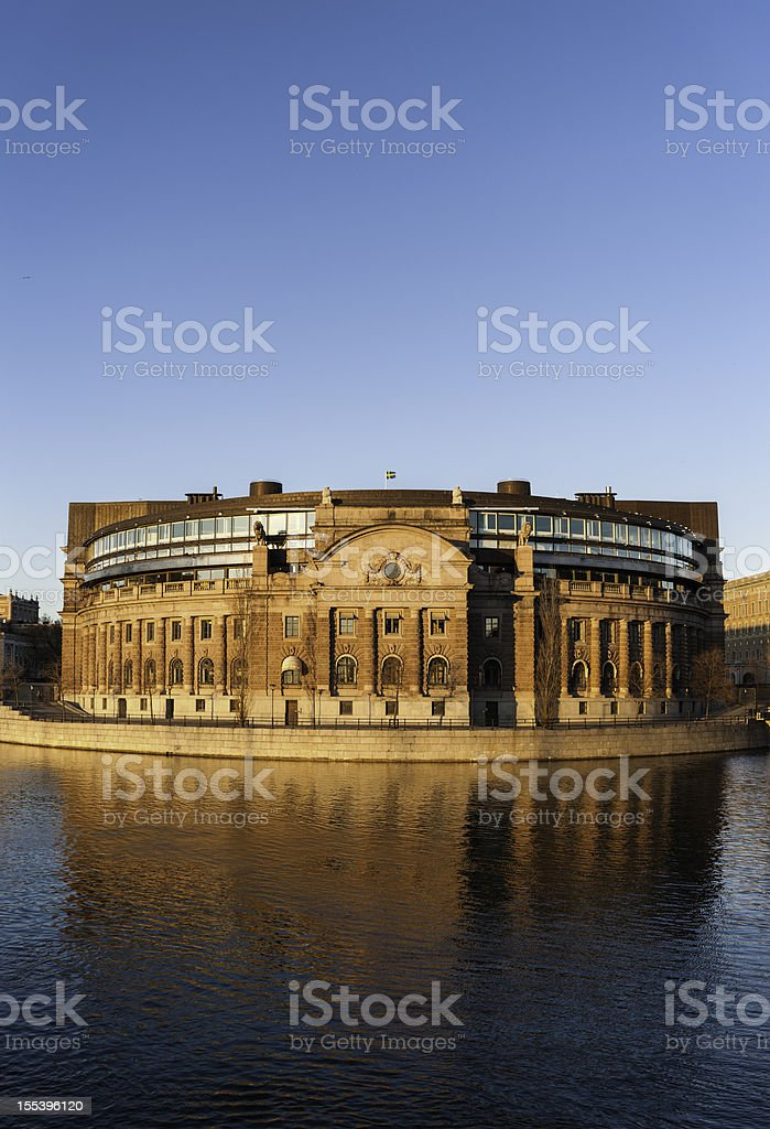 Stockholm Riksdagshuset Parliament House sunset Sweden stock photo