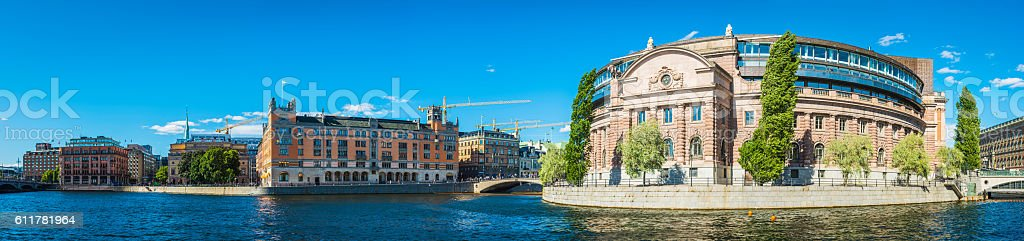 Stockholm Riksdagshuset Swedish Parliament Rosenbad waterfront cityscape panorama Sweden stock photo