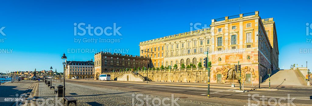 Stockholm Royal Palace Kungahuset overlooking harbour Gamla Stan panorama Sweden stock photo