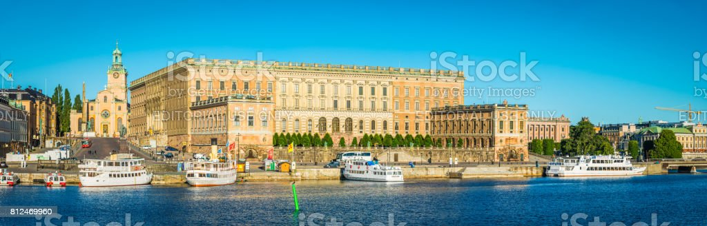 Stockholm Royal Palace Kungliga Slottet panorama on Gamla Stan Sweden stock photo