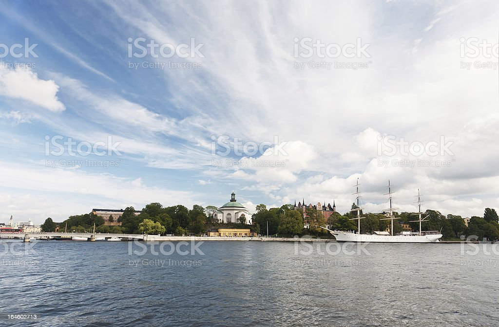 Stockholm - Saltsjön, Skeppsholmen and sailing ship stock photo