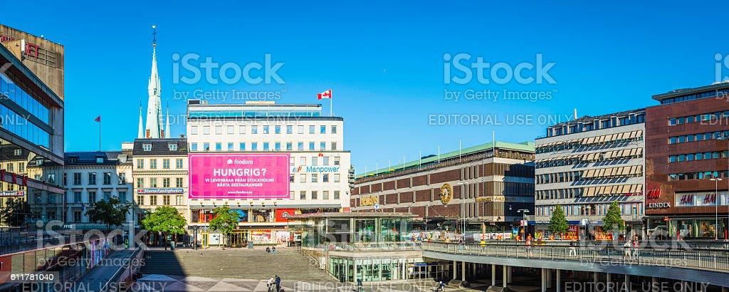 Stockholm Sergels Torg shops restaurants around public square panorama Sweden stock photo