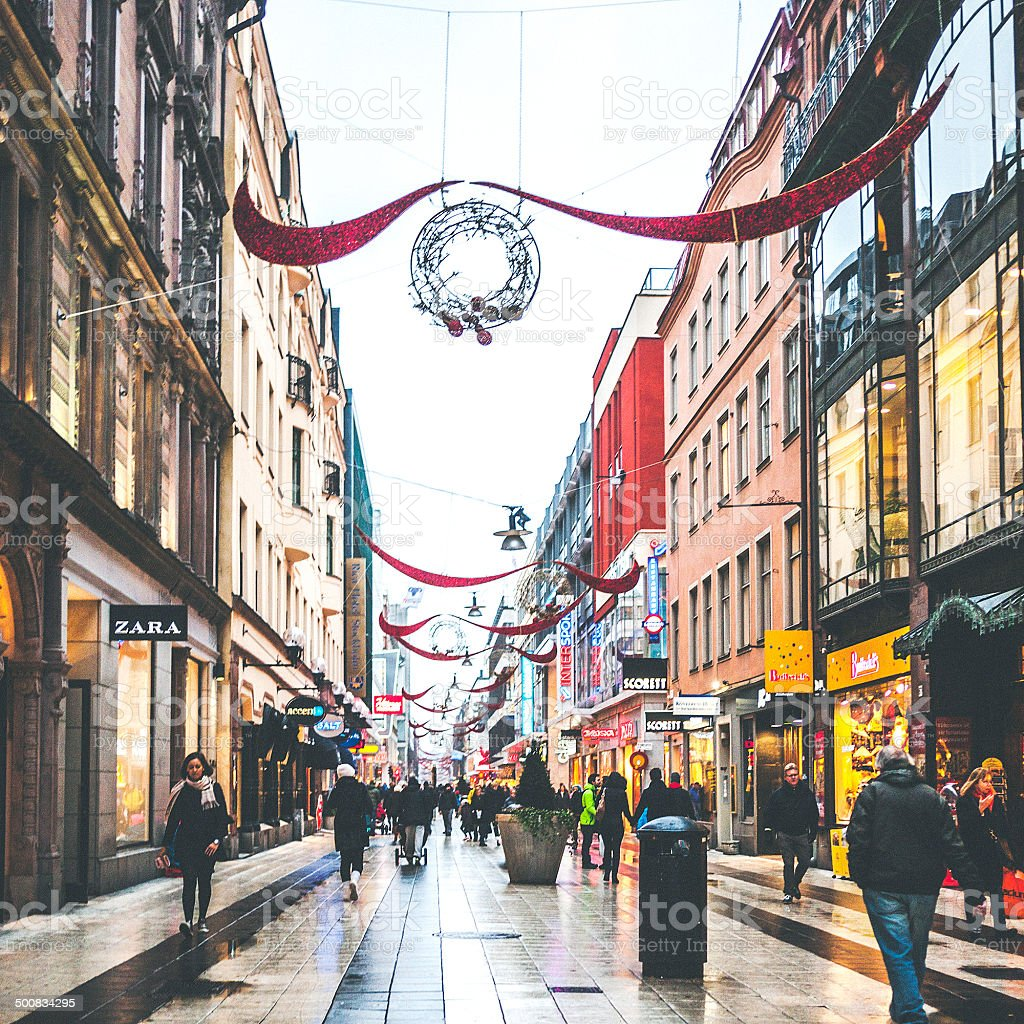 Stockholm shopping street. stock photo