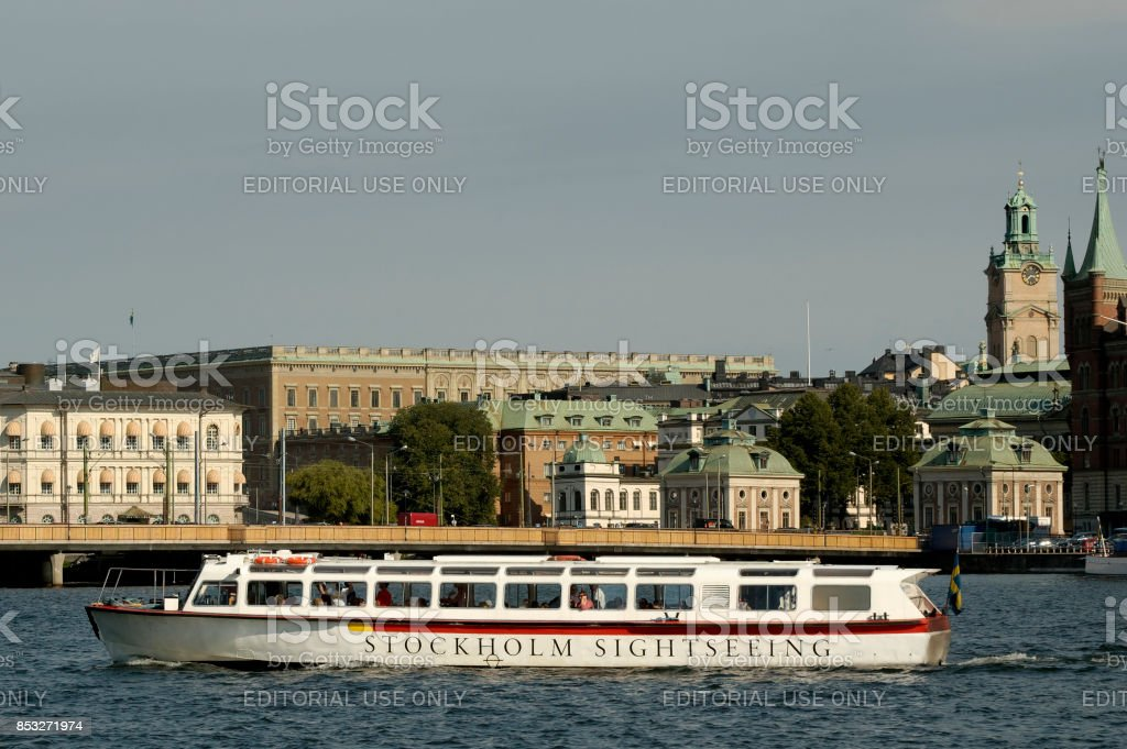 Stockholm sightseeing boat with cityscape in background stock photo