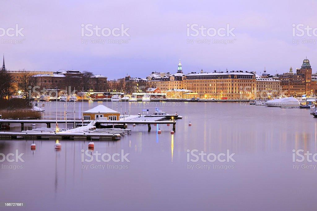 Stockholm Skyline and lake at dusk royalty-free stock photo