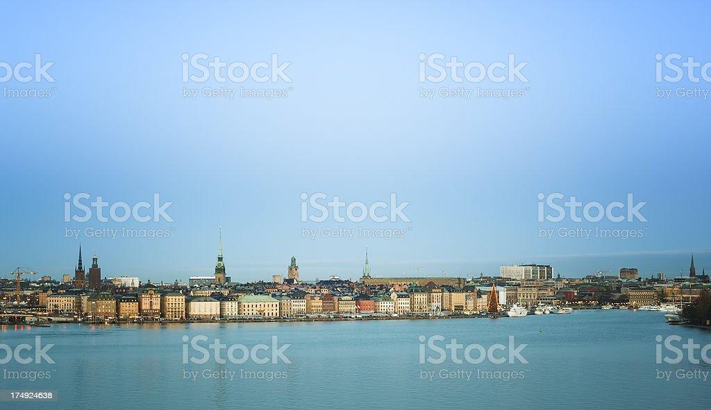 Stockholm Skyline at sunrise stock photo