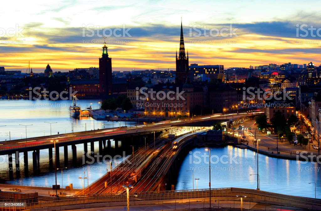 Stockholm skyline at twilight stock photo