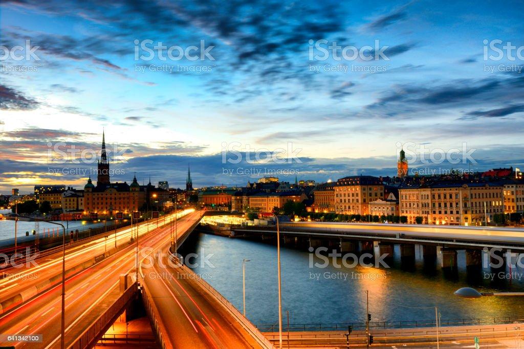 Stockholm skyline at twilight stock photo
