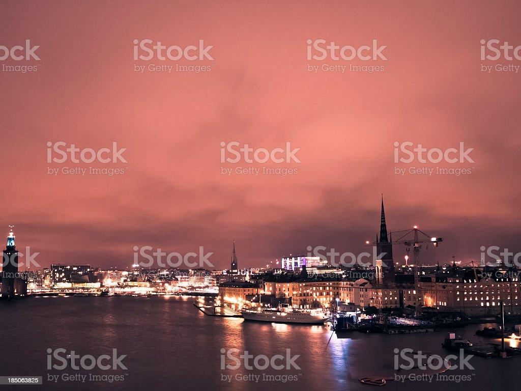 Stockholm Skyline By Night, Gamla Stan stock photo