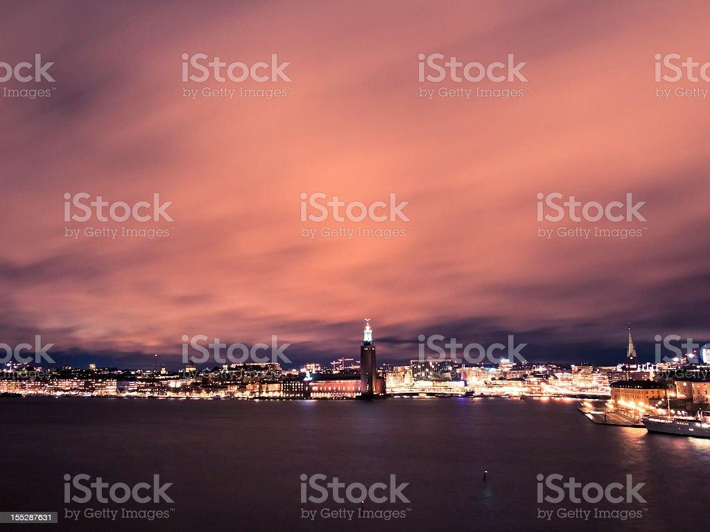 Stockholm Skyline By Night royalty-free stock photo