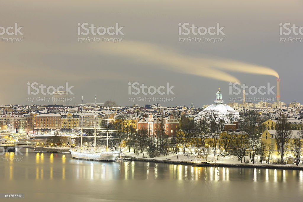 Stockholm Skyline Cityscape at Night royalty-free stock photo
