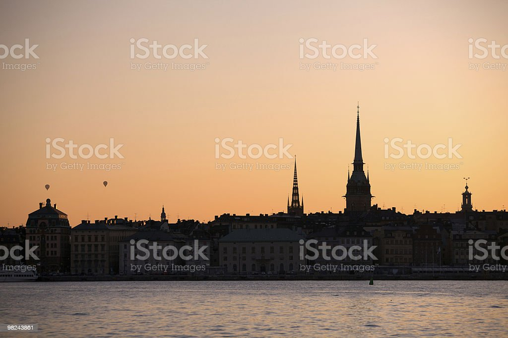 Stockholm Skyline in Sunset royalty-free stock photo