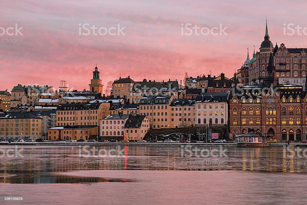 Stockholm Sodermalm at sunset. stock photo