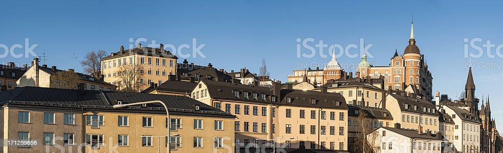 Stockholm Sodermalm embankment sunrise panorama stock photo