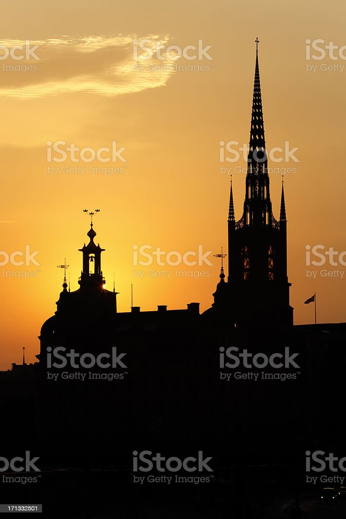 Stockholm spires at sunset stock photo