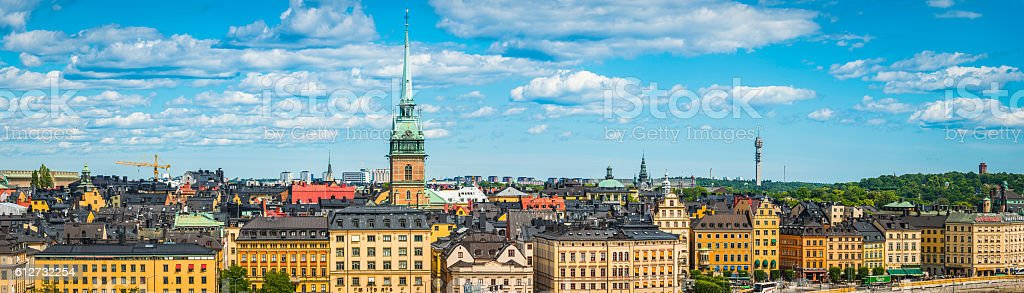 Stockholm spires hotels colourful townhouses on Gamla Stan panorama Sweden stock photo