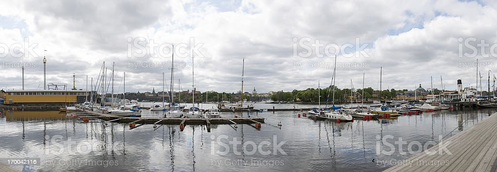 Stockholm stiched panorama. Small boat harbour on Djurgaarden. stock photo