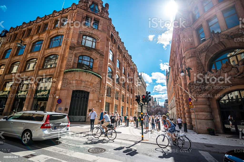 Stockholm streets with people and cars, Sweden stock photo