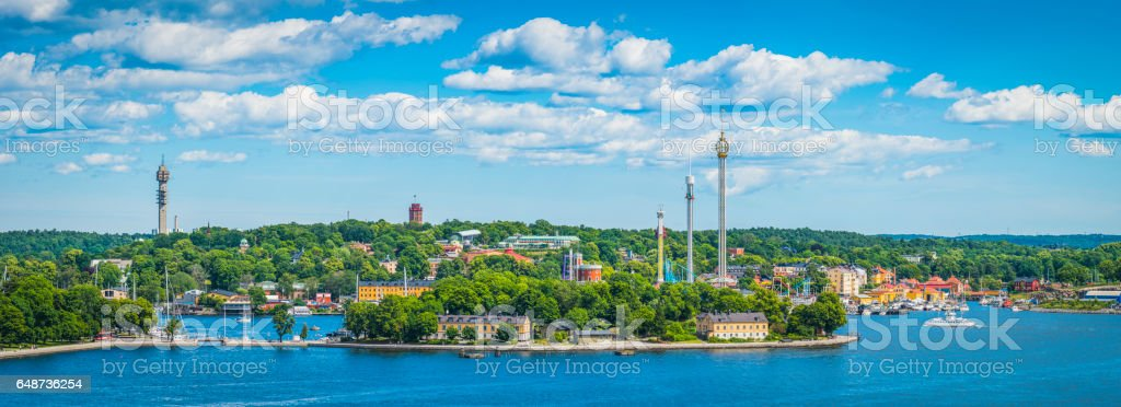 Stockholm summer skies over Djurgarden Skansen Grona Lund panorama Sweden stock photo