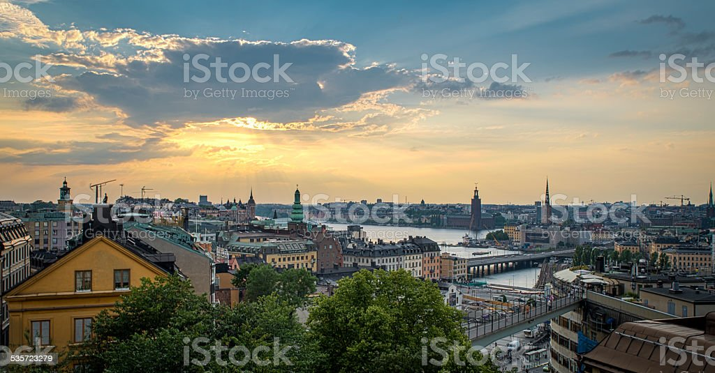 Stockholm sunset, skyline seen from sodra teatern stock photo