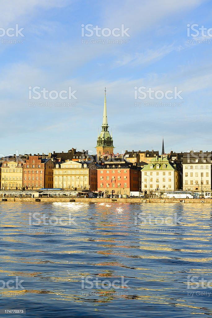 Stockholm Sweden architecture over looking water stock photo
