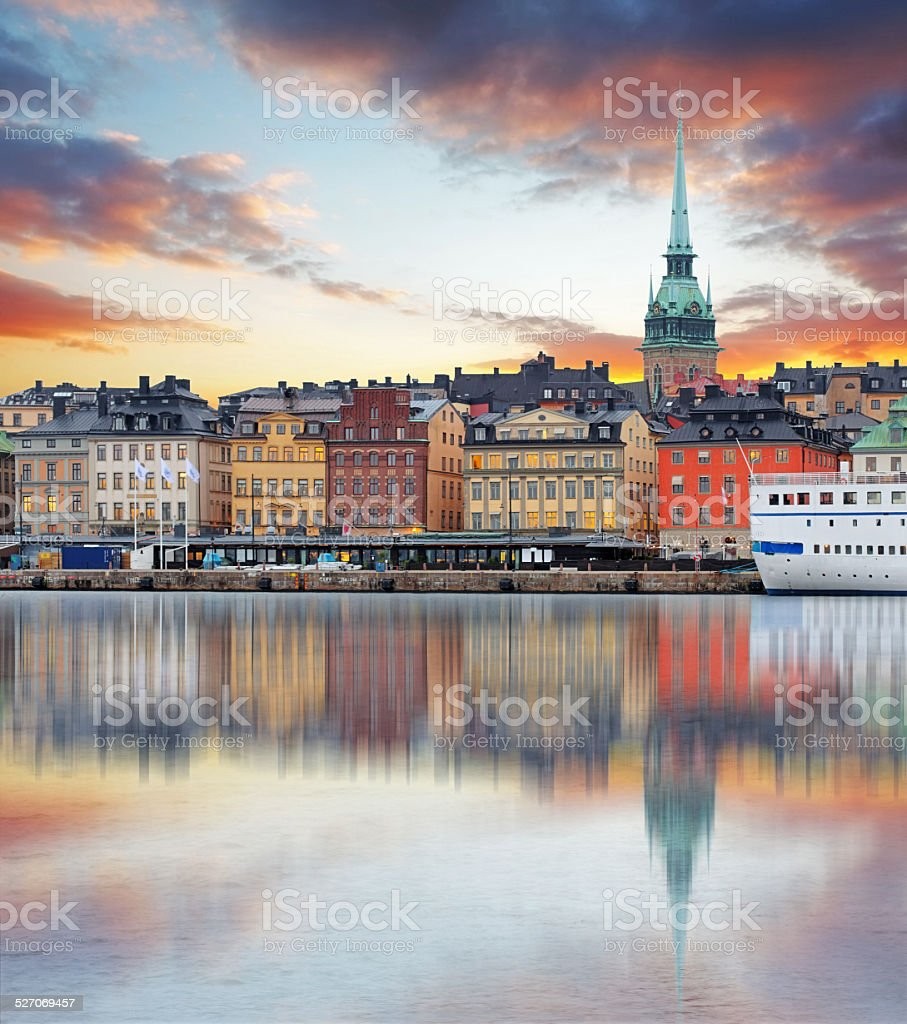 Stockholm, Sweden - panorama of the Old Town, Gamla Stan stock photo